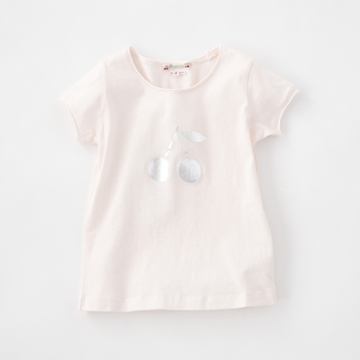 BONPOINT 2018SS キッズ BTI3757TE チェリープリント カットオフTシャツ(121 ペールピンク)3A-6A