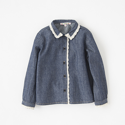 【SALE 40%OFF】BONPOINT 2018AW キッズ JANTINA レーストリムデニムブラウス(078A デニム)6A-8A