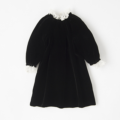 【SALE 40%OFF】BONPOINT 2018AW キッズ JOIE レースカラーシルク混ベロアワンピース(099 ブラック)4A